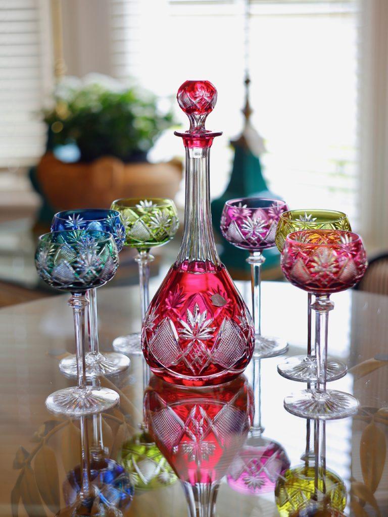 Vsl Crystal Carafe And 6 Glasses European Antiques